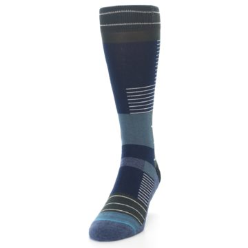 Image of Navy Block Stripe Men's Dress Socks (side-2-front-07)