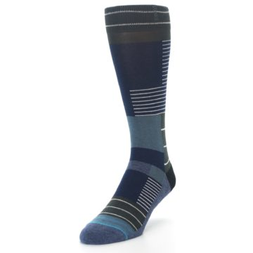 Image of Navy Block Stripe Men's Dress Socks (side-2-front-08)
