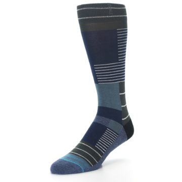 Image of Navy Block Stripe Men's Dress Socks (side-2-09)