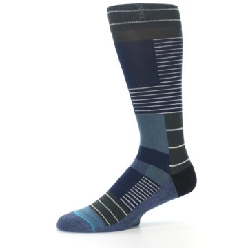 Image of Navy Block Stripe Men's Dress Socks (side-2-10)