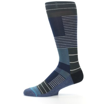 Image of Navy Block Stripe Men's Dress Socks (side-2-11)