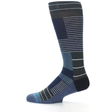 Image of Navy Block Stripe Men's Dress Socks (side-2-12)