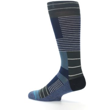 Image of Navy Block Stripe Men's Dress Socks (side-2-13)