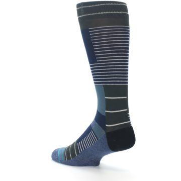 Image of Navy Block Stripe Men's Dress Socks (side-2-back-14)