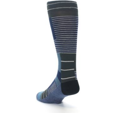 Image of Navy Block Stripe Men's Dress Socks (side-2-back-15)