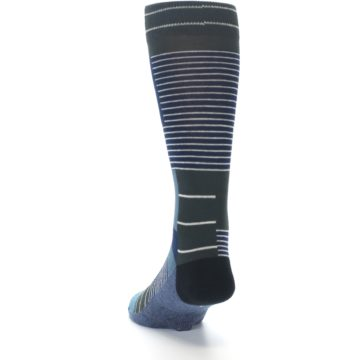 Image of Navy Block Stripe Men's Dress Socks (side-2-back-16)
