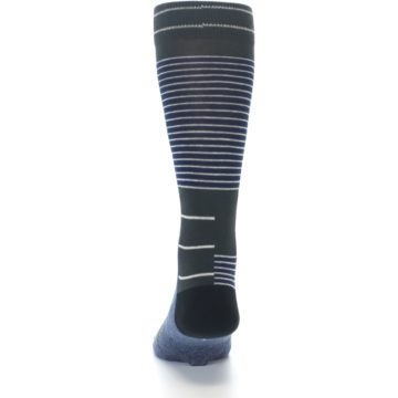 Image of Navy Block Stripe Men's Dress Socks (back-17)