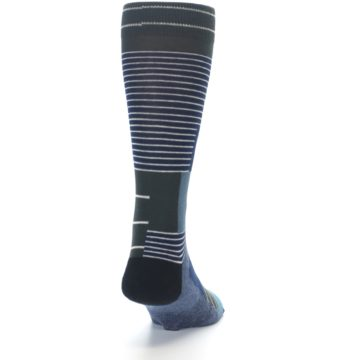 Image of Navy Block Stripe Men's Dress Socks (back-19)