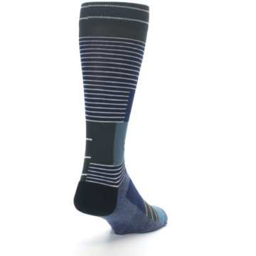 Image of Navy Block Stripe Men's Dress Socks (side-1-back-20)