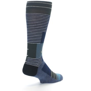 Image of Navy Block Stripe Men's Dress Socks (side-1-back-21)