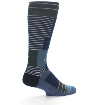 Image of Navy Block Stripe Men's Dress Socks (side-1-back-22)