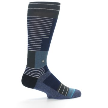 Image of Navy Block Stripe Men's Dress Socks (side-1-23)