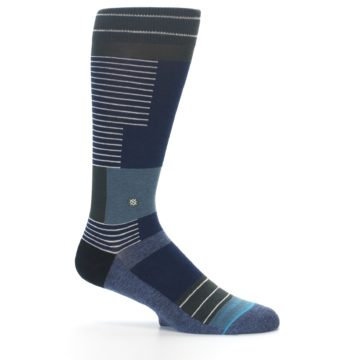 Image of Navy Block Stripe Men's Dress Socks (side-1-25)