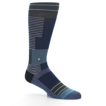 Image of Navy Block Stripe Men's Dress Socks (side-1-26)