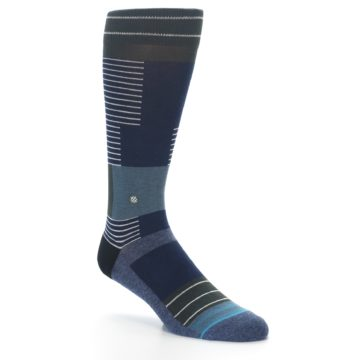 Image of Navy Block Stripe Men's Dress Socks (side-1-27)