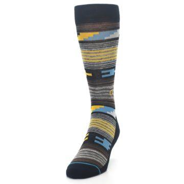 Image of Black Brown Gold Stripe Men's Dress Socks (side-2-front-06)