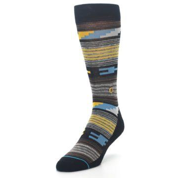 Image of Black Brown Gold Stripe Men's Dress Socks (side-2-front-07)