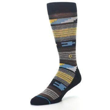 Image of Black Brown Gold Stripe Men's Dress Socks (side-2-front-08)