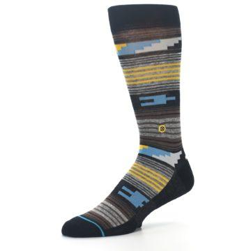 Image of Black Brown Gold Stripe Men's Dress Socks (side-2-09)
