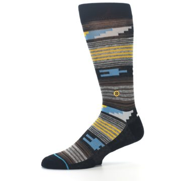 Image of Black Brown Gold Stripe Men's Dress Socks (side-2-10)