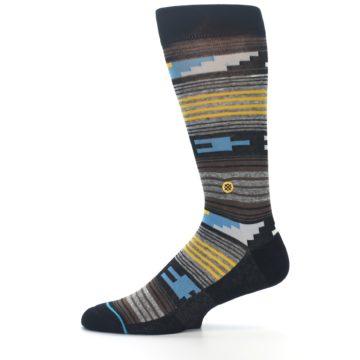 Image of Black Brown Gold Stripe Men's Dress Socks (side-2-11)