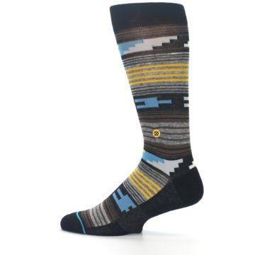 Image of Black Brown Gold Stripe Men's Dress Socks (side-2-12)