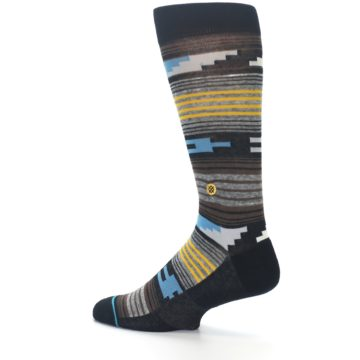 Image of Black Brown Gold Stripe Men's Dress Socks (side-2-13)