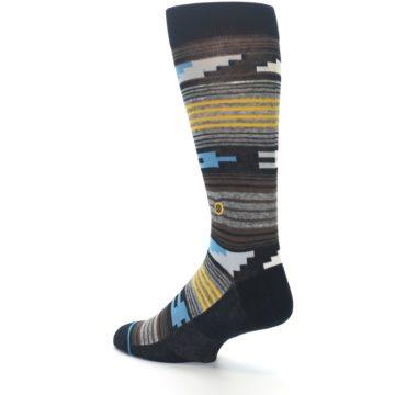 Image of Black Brown Gold Stripe Men's Dress Socks (side-2-back-14)