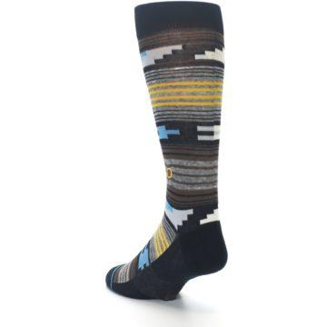 Image of Black Brown Gold Stripe Men's Dress Socks (side-2-back-15)