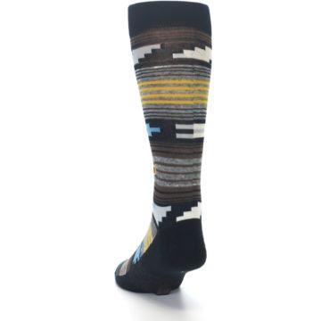 Image of Black Brown Gold Stripe Men's Dress Socks (side-2-back-16)