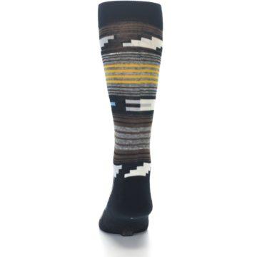Image of Black Brown Gold Stripe Men's Dress Socks (back-17)