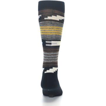 Image of Black Brown Gold Stripe Men's Dress Socks (back-18)