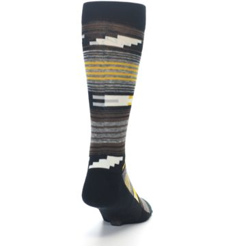 Image of Black Brown Gold Stripe Men's Dress Socks (back-19)