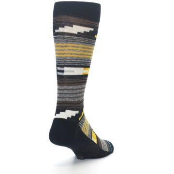 Image of Black Brown Gold Stripe Men's Dress Socks (side-1-back-20)