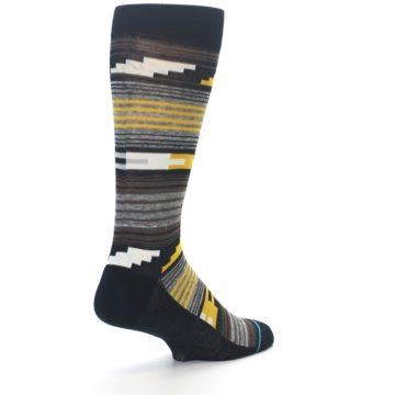 Image of Black Brown Gold Stripe Men's Dress Socks (side-1-back-21)