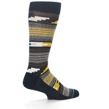 Image of Black Brown Gold Stripe Men's Dress Socks (side-1-back-22)
