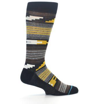 Image of Black Brown Gold Stripe Men's Dress Socks (side-1-23)