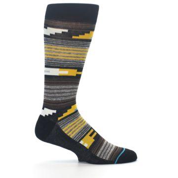 Image of Black Brown Gold Stripe Men's Dress Socks (side-1-24)