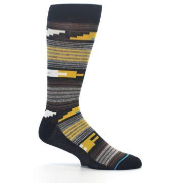 Image of Black Brown Gold Stripe Men's Dress Socks (side-1-25)
