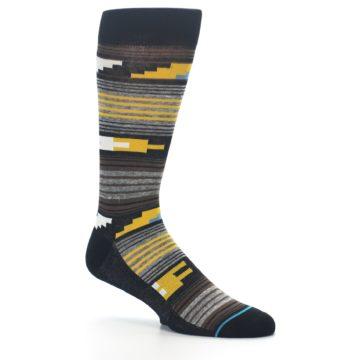 Image of Black Brown Gold Stripe Men's Dress Socks (side-1-26)