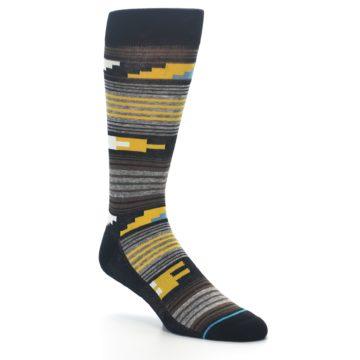 Image of Black Brown Gold Stripe Men's Dress Socks (side-1-27)
