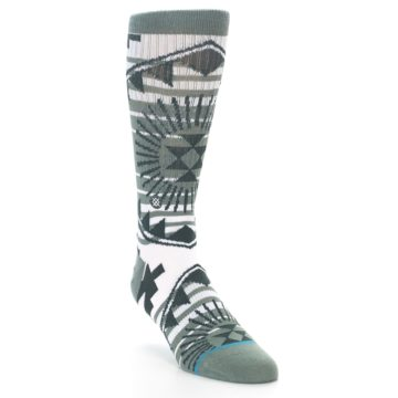 Image of White Green Patterned Men's Casual Socks (side-1-front-02)