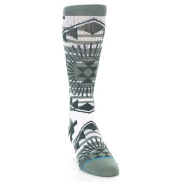 Image of White Green Patterned Men's Casual Socks (side-1-front-03)
