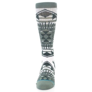 Image of White Green Patterned Men's Casual Socks (front-05)