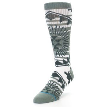 Image of White Green Patterned Men's Casual Socks (side-2-front-07)