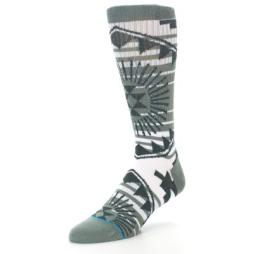 Image of White Green Patterned Men's Casual Socks (side-2-front-08)