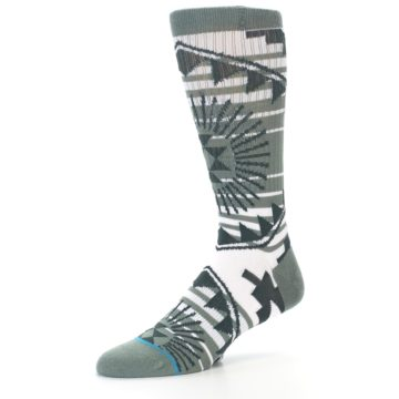 Image of White Green Patterned Men's Casual Socks (side-2-09)