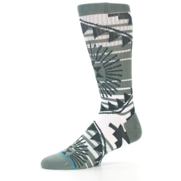 Image of White Green Patterned Men's Casual Socks (side-2-10)