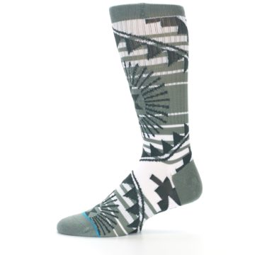 Image of White Green Patterned Men's Casual Socks (side-2-11)