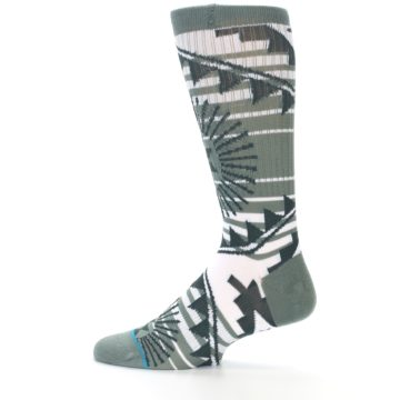 Image of White Green Patterned Men's Casual Socks (side-2-12)